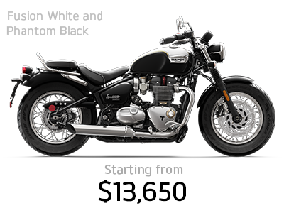 Bonneville Speedmaster in Fusion White and Phantom Black