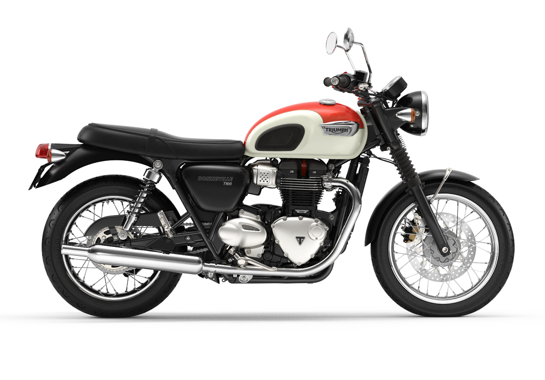 MY19 Triumph Bonneville T100 Intense Orange and White